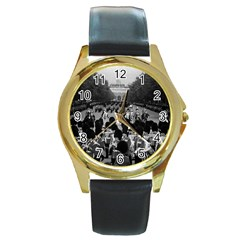 Vintage Uk England The Guards Returning Along The Mall Black Leather Gold Rim Watch (round)
