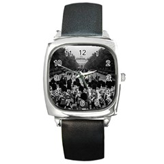 Vintage UK England the Guards returning along the Mall Black Leather Watch (Square)