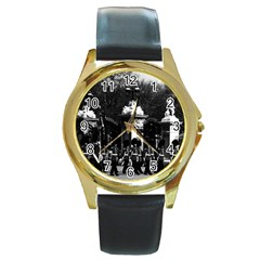 Vintage England London Changing guard Buckingham palace Black Leather Gold Rim Watch (Round)