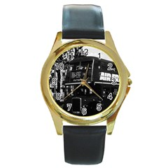 Vintage UK England London double-decker bus 1970 Black Leather Gold Rim Watch (Round)