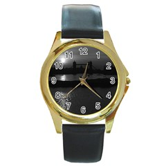 Vintage Uk England London Sun Sets Tower Bridge 1970 Black Leather Gold Rim Watch (round)