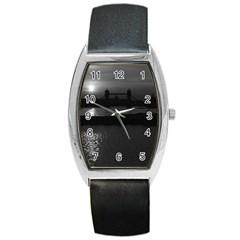 Vintage UK England London sun sets Tower Bridge 1970 Black Leather Watch (Tonneau)