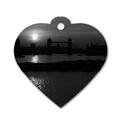 Vintage UK England London sun sets Tower Bridge 1970 Twin-sided Dog Tag (Heart)