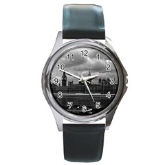 Vintage  Uk England London The Houses Of Parliament 1970 Black Leather Watch (round)