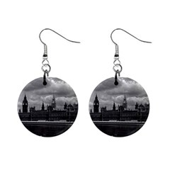 Vintage  Uk England London The Houses Of Parliament 1970 Mini Button Earrings