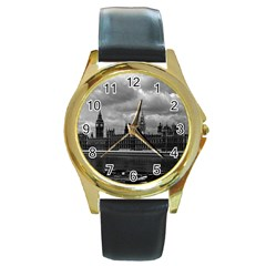 Vintage  UK England London The houses of parliament 1970 Black Leather Gold Rim Watch (Round)