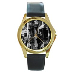 Vintage UK England London Shops Carnaby street 1970 Black Leather Gold Rim Watch (Round)