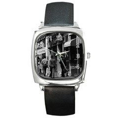 Vintage UK England London Shops Carnaby street 1970 Black Leather Watch (Square)