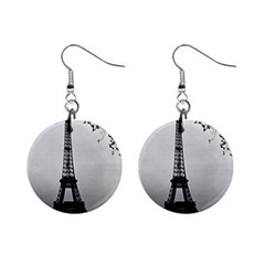 Vintage France Paris Eiffel Tour Seine At Dusk 1970 Mini Button Earrings