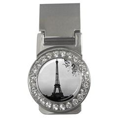 Vintage France Paris Eiffel tour Seine at dusk 1970 Money Clip with Gemstones (Round)