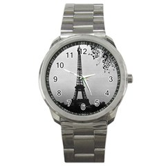 Vintage France Paris Eiffel tour Seine at dusk 1970 Stainless Steel Sports Watch (Round)