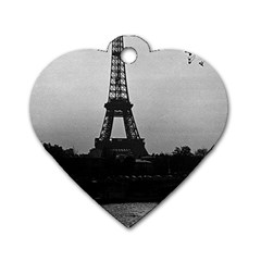 Vintage France Paris Eiffel Tour Seine At Dusk 1970 Twin Sided Dog Tag (heart)