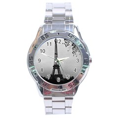 Vintage France Paris Eiffel Tour Seine At Dusk 1970 Stainless Steel Analogue Watch (round)