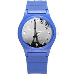 Vintage France Paris Eiffel tour Seine at dusk 1970 Round Plastic Sport Watch Small