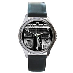 Vintage France Paris Triumphal Arch 1970 Black Leather Watch (round)