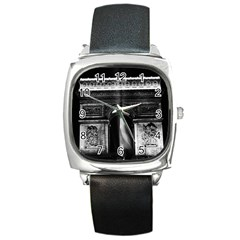 Vintage France Paris Triumphal arch 1970 Black Leather Watch (Square)