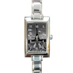 Vintage France Paris Fontain Chaillot Tour Eiffel 1970 Classic Elegant Ladies Watch (rectangle)