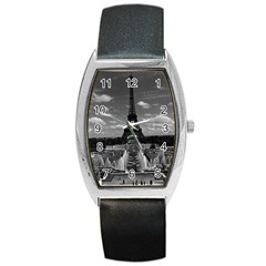 Vintage France Paris Fontain Chaillot Tour Eiffel 1970 Black Leather Watch (Tonneau)