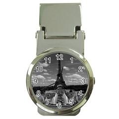 Vintage France Paris Fontain Chaillot Tour Eiffel 1970 Chrome Money Clip with Watch