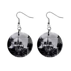 Vintage France Paris Notre Dame Saint Louis Island 1970 Mini Button Earrings
