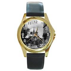 Vintage France Paris notre dame saint louis island 1970 Black Leather Gold Rim Watch (Round)