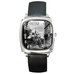 Vintage France Paris notre dame saint louis island 1970 Black Leather Watch (Square)