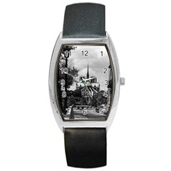 Vintage France Paris Notre Dame Saint Louis Island 1970 Black Leather Watch (tonneau)
