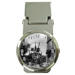 Vintage France Paris notre dame saint louis island 1970 Chrome Money Clip with Watch