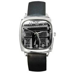 Vintage France Paris Triumphal arch  Place de l Etoile Black Leather Watch (Square)