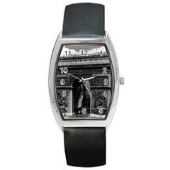 Vintage France Paris Triumphal arch  Place de l Etoile Black Leather Watch (Tonneau)