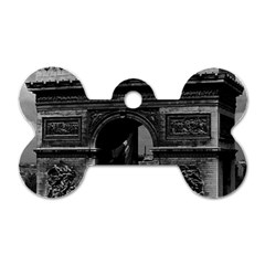 Vintage France Paris Triumphal Arch  Place De L etoile Twin Sided Dog Tag (bone)