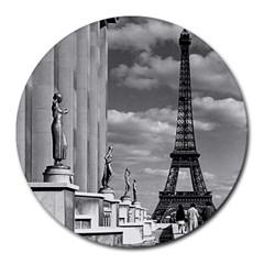 Vintage France Paris Eiffel Tour Chaillot Palace 1970 8  Mouse Pad (round)