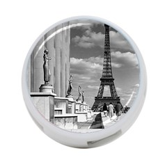 Vintage France Paris Eiffel tour Chaillot palace 1970 Twin-sided 4 Port USB Hub (Round)