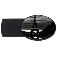 Vintage France Paris Eiffel Tower Reflection 1970 4gb Usb Flash Drive (oval)