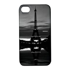 Vintage France Paris Eiffel tower reflection 1970 Apple iPhone 4/4S Hardshell Case with Stand
