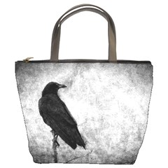 Black Crow Bucket Handbag