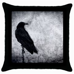 Black Crow Black Throw Pillow Case