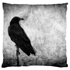 Black Crow Large Cushion Case (Two Sides)