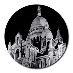 Vintage France Paris The Sacre Coeur Basilica 1970 8  Mouse Pad (Round)