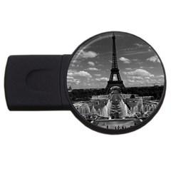 Vintage France Paris Fontain Chaillot Tour Eiffel 1970 2Gb USB Flash Drive (Round)