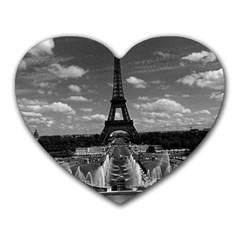 Vintage France Paris Fontain Chaillot Tour Eiffel 1970 Mouse Pad (Heart)