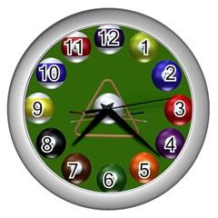 Billiards Silver Wall Clock
