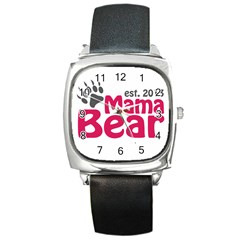 Mama Bear Claw 2013 Black Leather Watch (Square)
