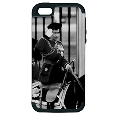 Vintage UK England  queen Elizabeth 2 Buckingham Palace Apple iPhone 5 Hardshell Case (PC+Silicone)