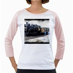 The Steam Train White Long Sleeve Raglan Womens  T-shirt