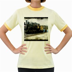 The Steam Train Colored Ringer Womens  T-shirt