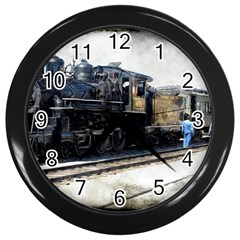 The Steam Train Black Wall Clock