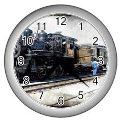 The Steam Train Silver Wall Clock