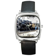 The Steam Train Black Leather Watch (Square)