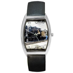 The Steam Train Black Leather Watch (tonneau)